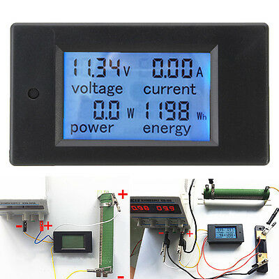 DC 20A  6.5-100V LCD Combo Meter Voltage Current KWh Watt Battery Power Monitor