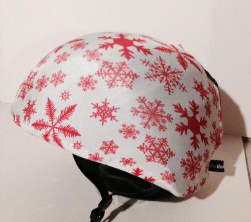 Ski /& Sport Helmet cover by Shellskin Orangey Snowflake print Spandex.1 Size