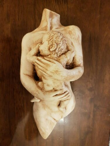 Nude Mother and Baby Plaster Wall Decoration Hanging Plaque Handmade ART