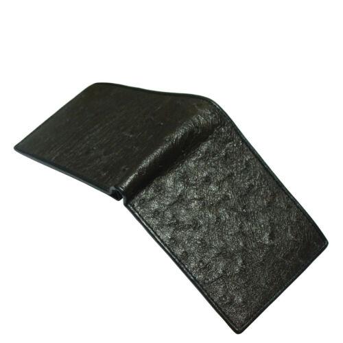 Black Genuine Ostrich Skin Leather Men/'s Bifold Wallets