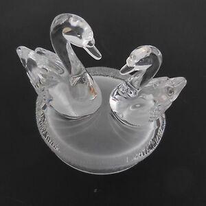 Estatua-Figura-Escultura-2-Cisnes-De-Base-de-Cristal