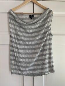 Jersey Shimmer Stripe gris plateado rayas