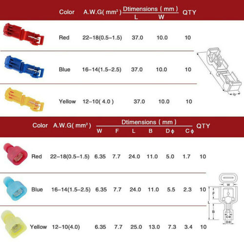 60pcs Cable Connector T-tap Quick Connect Splice Terminal Clips Insulated Set