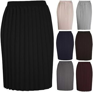 Womens-New-Plain-Pleated-Stretch-Ladies-Elasticated-Waist-Long-Skirt-Plus-Size