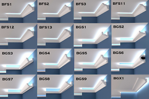Details About Samples Xps Coving Led Lighting Uplighter Wall Cornice Flat Side