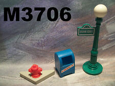 Vintage F P Little People #938 SESAME STREET MAIL BOX, LAMP POST & FIRE HYDRANT
