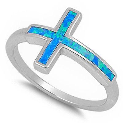 Blue Opal Sideways Cross .925 Sterling Silver Ring Sizes 5-11