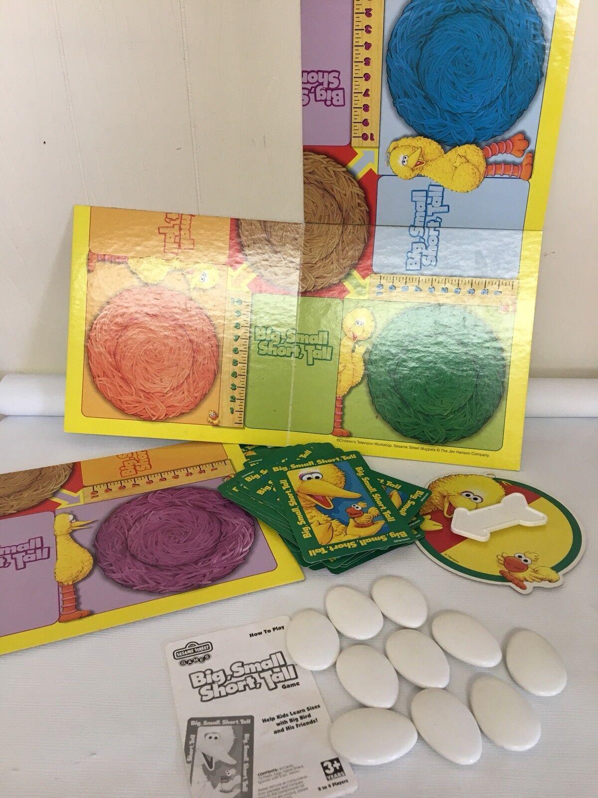 Big Small Short Tall Sesame Street Board Game Learn Sizes Big Bird Friends HTF