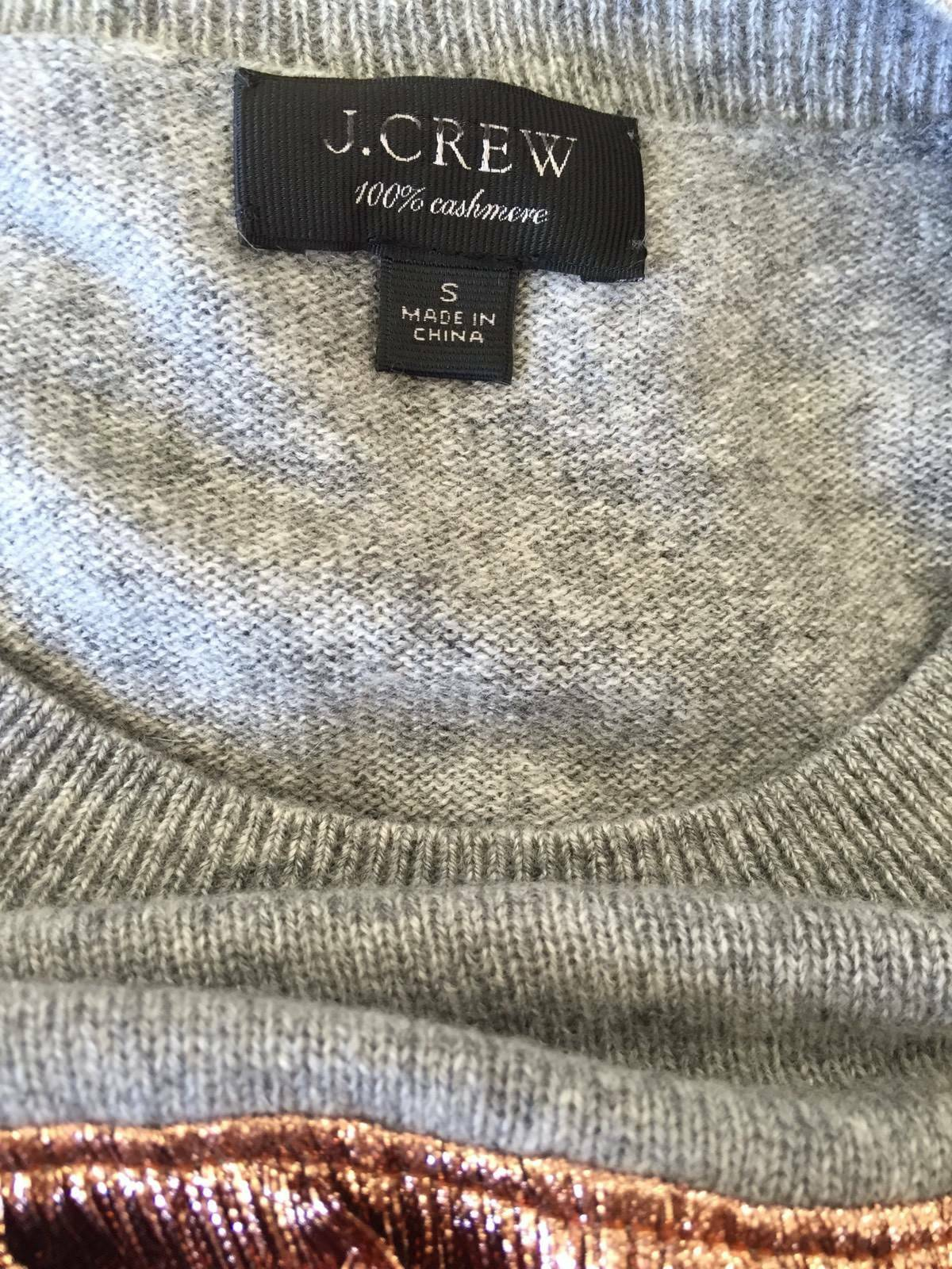 New New New J.Crew Cashmere sweater with lamé fringe Heather Grey Size S G8451  178 8bc5ee