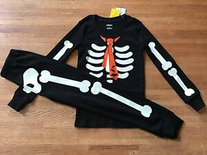 a5ce7f2a6 NEW Gymboree Halloween Boy Black Glow Dark skeleton tie bats pajamas ...