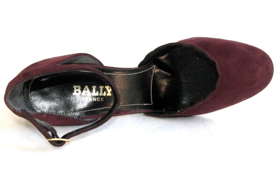 BALLY Sandales bride talon 8.5 cm tout cuir velours velours velours bordeaux 36 TRES BON ETAT bbbf2a