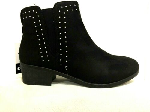 NEW LADIES CHELSEA BLOCK HEEL WORK OFFICE BOOTS SHOES BLACK SUEDE FASHION SIZES