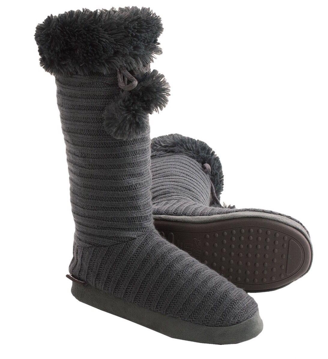 Muk Luks Tall Solid Dark Gray Pom Pom Boot Slipper Large 9 10 M New