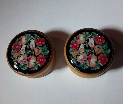 Pair Natural Wood Bamboo Plugs Gauges Earrings FLORAL BIRD  Stretchers 5097