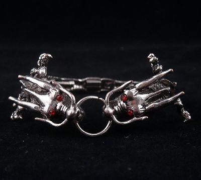 Gutherzig Tibetisch Stahl Made Rot Augen Double Dragon Armreif #05131401