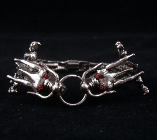 Tibetan Steel Made *Red Eyes* Double Dragon Bracelet Bangle #05131401