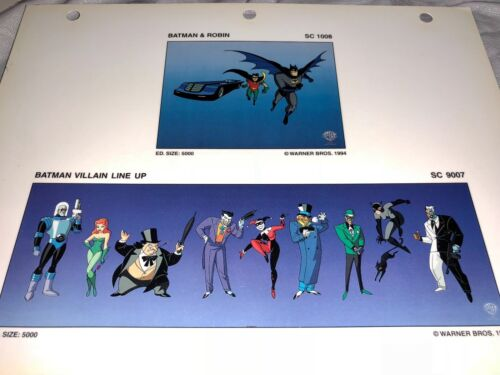 Rare Warner Bros Batman & Robin Laminated Cel Promo Binder Page Villain Line Up