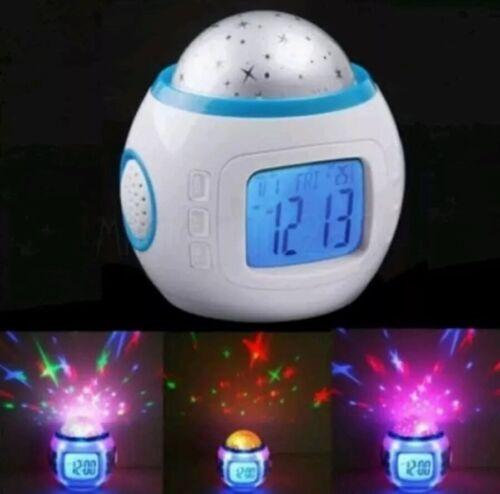 Babies Bedroom Nightlight Led Sky Projector Musical Alarm Clock Gift UK Seller