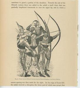 ANTIQUE GERMAN FRANC ARCHERS ARCHERY CROSSBOW ARROWS SMALL OLD ART PRINT