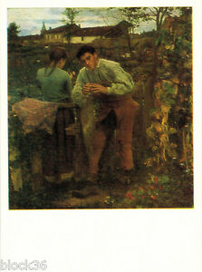 1982 Russian postcard Repro of painting VILLAGE LOVE by Jules Bastien-Lepage