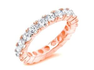 Delicate 2 mm Round Cut CZ 925 Silver Stackable Eternity Bridal Band Ring Size 4