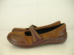Womens-8-M-Clarks-Privo-Aria-Mary-Jane-Comfort-Shoes-Brown-Leather-Slip-On-Clogs