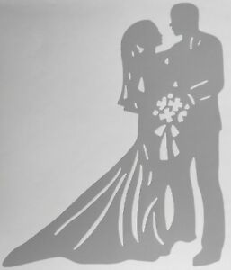 Bride and groom wedding day silhouette craft card making wall art image is loading bride and groom wedding day silhouette craft card junglespirit Images