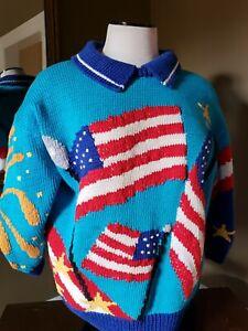 b5d60c10d5ab2 BEREK Marta D 1989 Sweater USA Patriotic July 4th Fireworks Flag ...