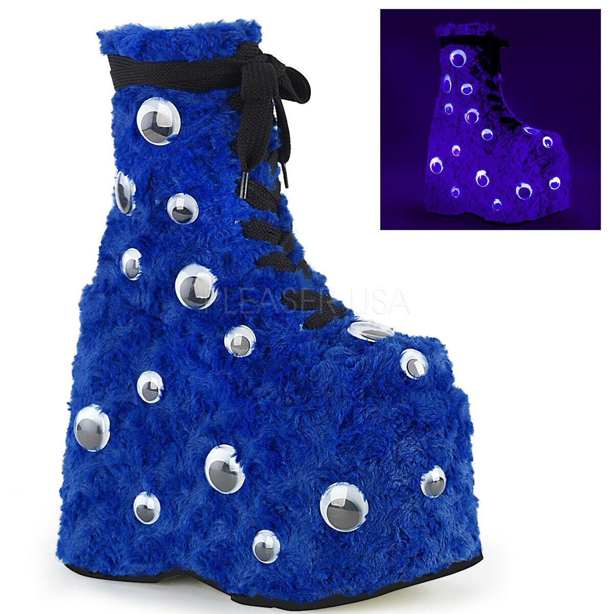 Huge Demonia 7  Platform bluee Fur Googly Eyes UV Glow Ankle Boots Club Rave 6-12