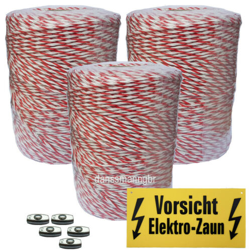 1200 m Weidezaunlitze 3mm geringer Widerstand 0.09 Ohm//m rot-weiss  Kupferleiter