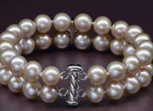 2 rows 9-10mm south sea round lavender pearl bracelet 7.5-8  Y3389