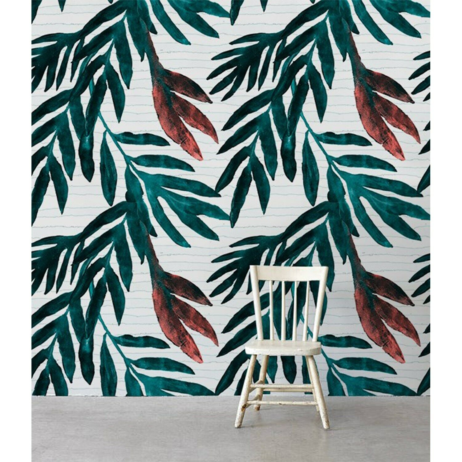 Non-Woven wallpaper Painted Leaf WaterFarbe Leaves Traditional art Home Mural