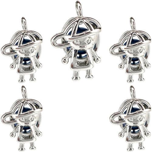5X-K1144 Argent Couleur Hat Boy Diffuseur perles cage Charme Médaillon Pendentif