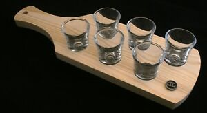 Gemini Zodiac Set of 6 Shot Glasses with Wooden Paddle Tray Holder H4e9PNty-09093317-353066621