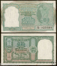 ★★ 5 Rupees B.Rama Rau ~ 2nd Issue ~ Incorrect Hindi ~ AUNC ~ C-2 ★★ bb85