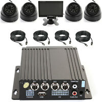 4 Channel Auto Mobile Dvr 128 Sd Card Video Recorder + 4 Kamera Cable 7 Screen