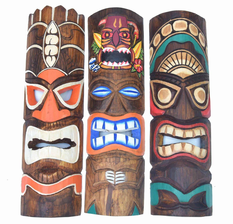 3 Tiki Wandmasken 50cm 3 Tiki Masken Hawaii Maui Style Wandmaske Maske