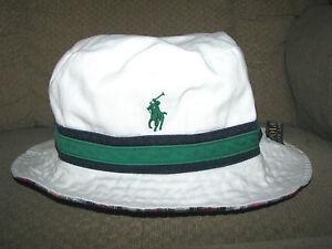 47a92e2923e Men s  50. POLO-RALPH LAUREN Reversible PONY Bucket Hat (L-XL) White ...