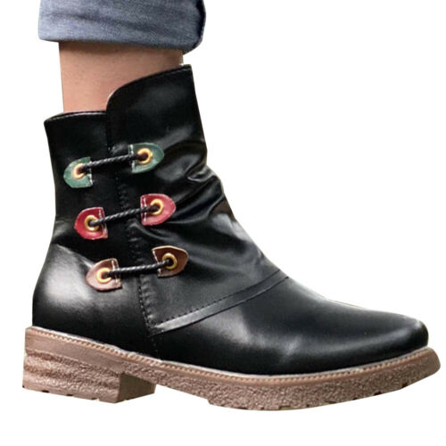 Women/'s Winter Warm Round Toe Ankle Boots Chunky Punk Biker Riding Booties Shoes