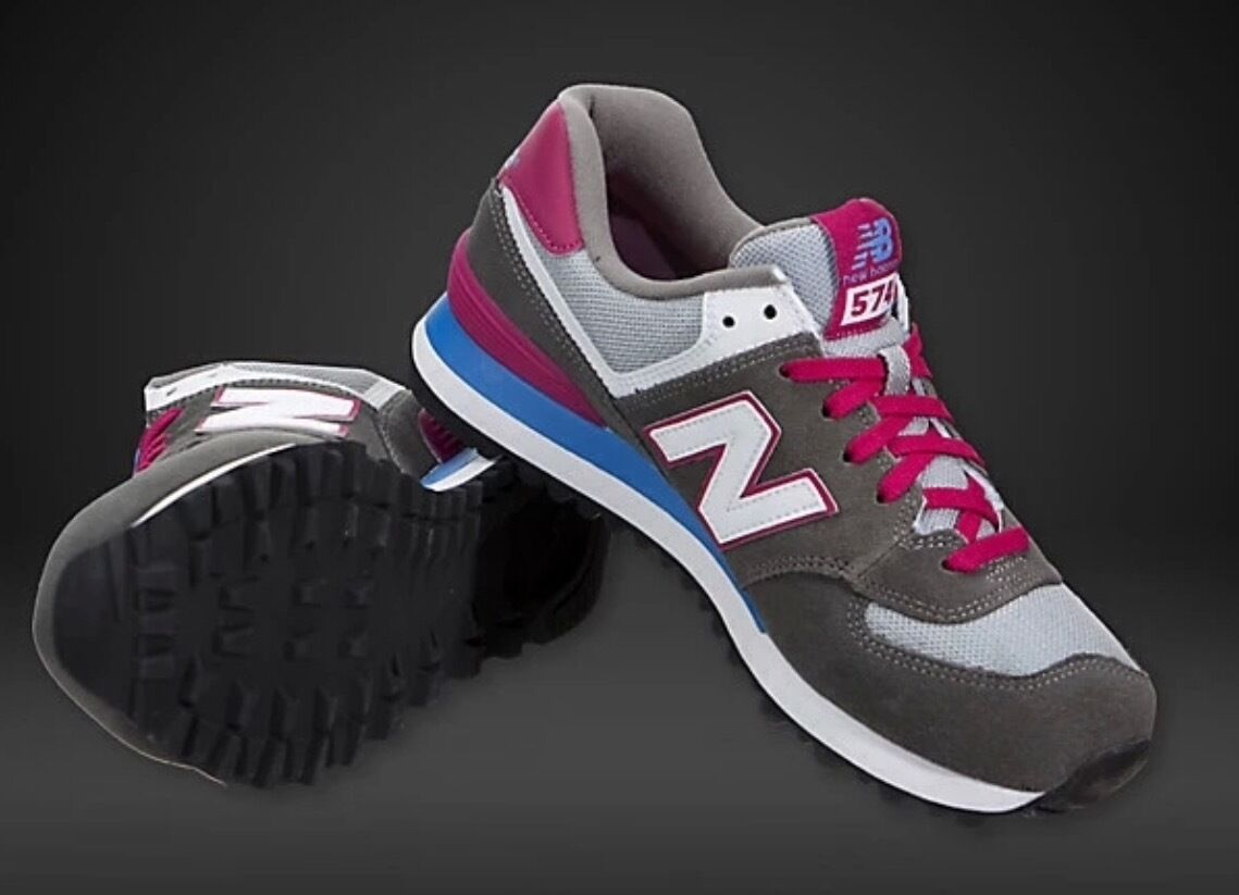 New Balance 574  trainers Grey white   pink Women girls  3.5 or 6.5 pumps retro