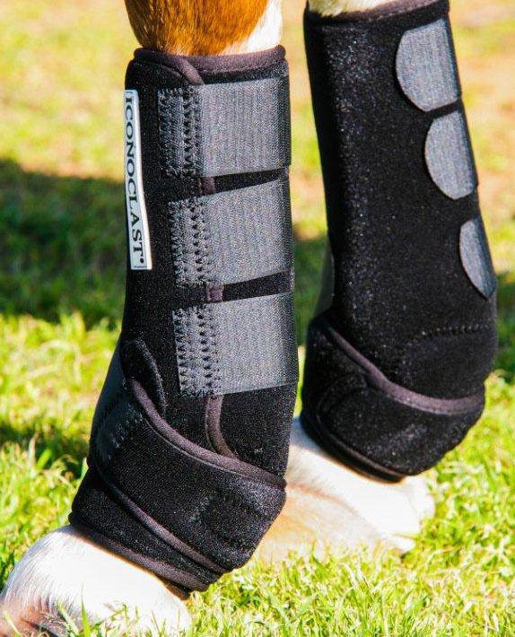 Iconoclasta Deportes botas Equino Completo Frontal Back-Negro Mediano
