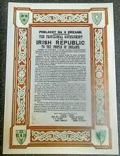 IRISH REPUBLICAN PROCLAMATION 1916 EASTER RISING DUBLIN SINN FEIN A4 SIZE CARD