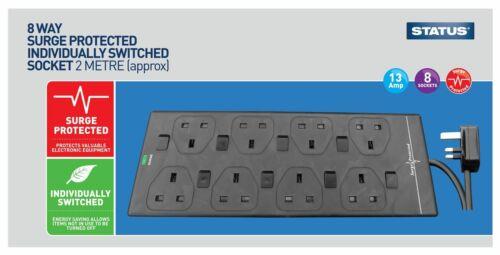 Extension Lead Cable adaptateurs de prise électrique USB Socket 2 3 4 6 8 10 Gang Way UK