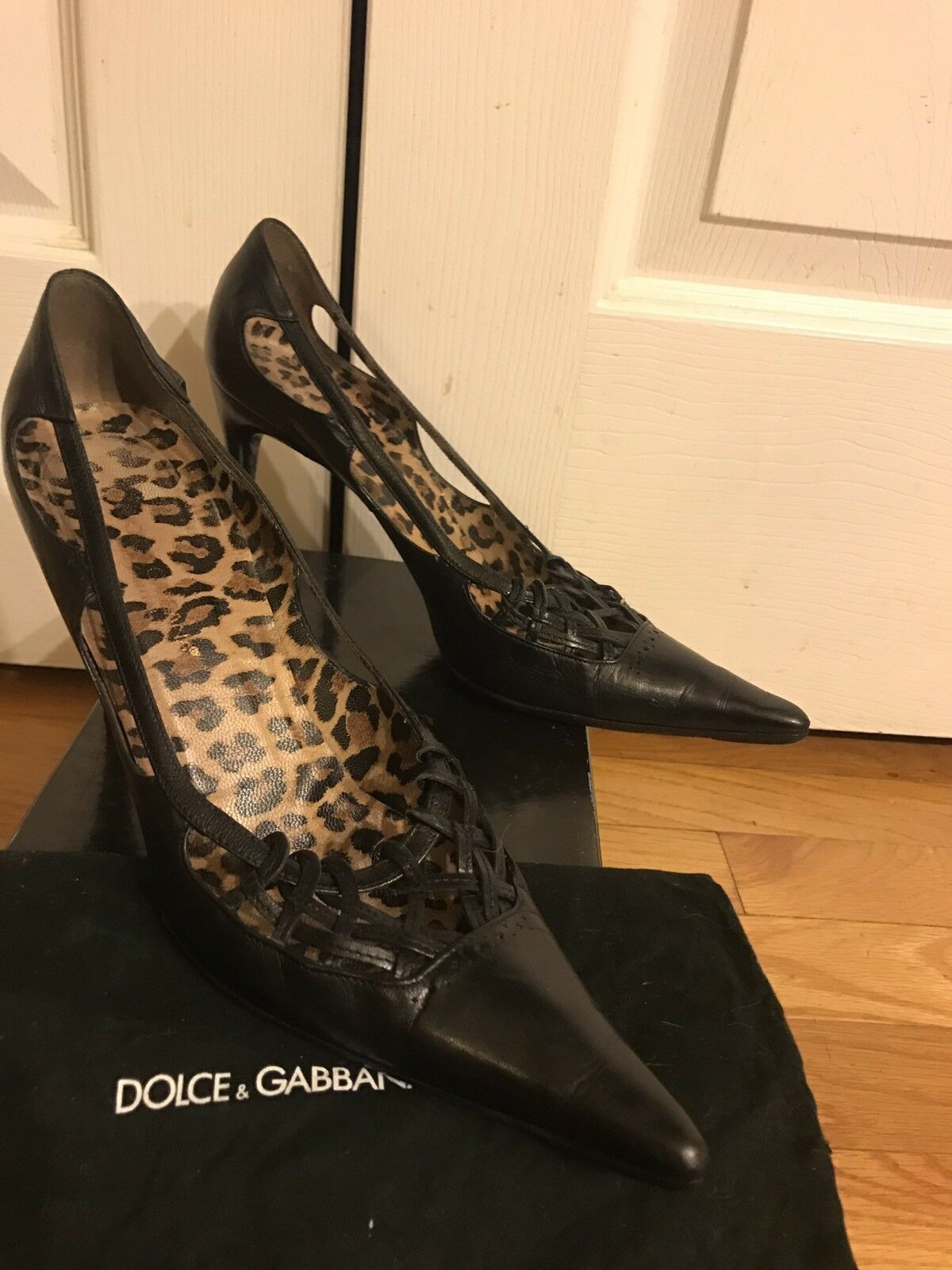 Dolce And Gabbana All Genuine Leder Pointy Toe Heel Schuhes Sz 38.5 Made