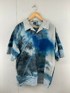 Street Culture Men's Vintage Short Sleeve Hawaiian Shirt - Blue - Size XL
