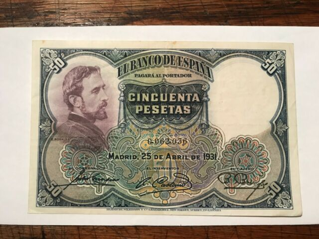 XF CONDITION SPAIN 50 PESETAS 1931 P 82 4RW 30MAR