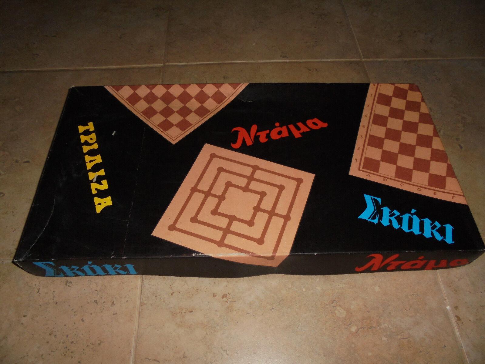 "Vintage 70's Greek board game ""Chess- dama – triliza"". New"