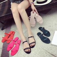 New Women Ladies Jelly Sandals Flat Diamante Flower Summer Flip Flop Beach Shoes