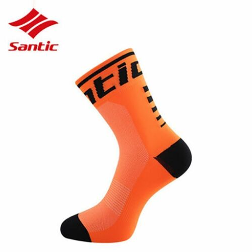 Santic Cycling Socks Outdoor Antibacterial Sport Socks Unisex One Size Orange