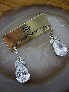 Details About Samantha Wills Earrings Bridal Crystal Blue Moon Pee Clear Pear Trio Nwt 129